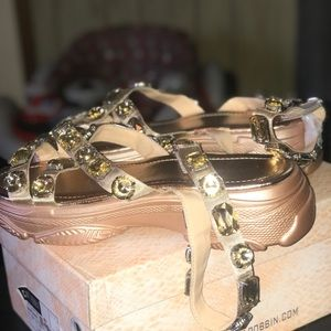 Jeweled platform sandals never worn